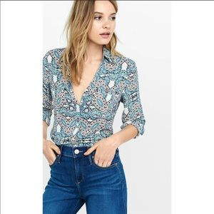 Express Paisley Print Portofino Button up shirt
